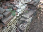 ancient bricks at wall of the KyaungLein pagoda
