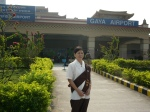 Pyone outside Gaya airport