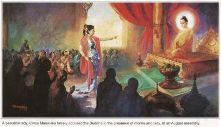 Sakka သိၾကားမင္း, king of the devas နတ္, came to the rescue by sendning four of his devas in form of rats to cut the cords of the wooden disc (or cloth in another version) which is used to feign pregnancy.