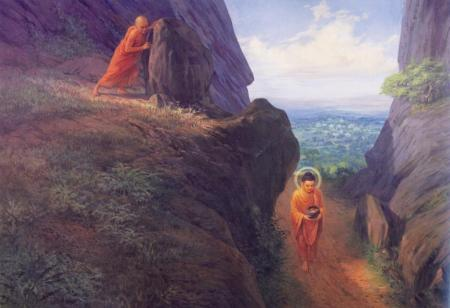 Devadatta pushing a stone from the hill near the Vulture's Rock while Buddha was walking beneath