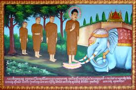 Buddha subduing the drunken fierce man-killer elephant Nalagiri sent by Devadatta