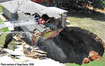 Natural sinkholes have swallowed down even large buildings but large holes are left in the ground.